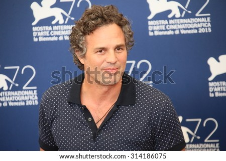 Mark Ruffalo attends a photocall for 'Spotlight' during the 72nd Venice Film Festival on September 3, 2015 in Venice, Italy. - stock photo