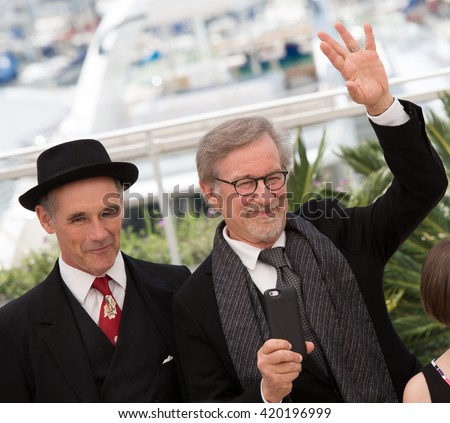 Mark Rylance, Steven Spielberg at the photocall for 'The BFG (Le Bon Gros Geant - Le BGG)' , at the 69th Festival de Cannes.May 14, 2016  Cannes, France - stock photo