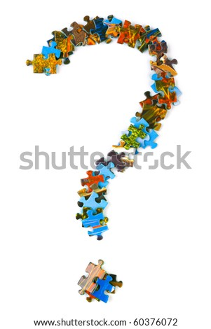 Mark sign made of puzzle isolated on white background