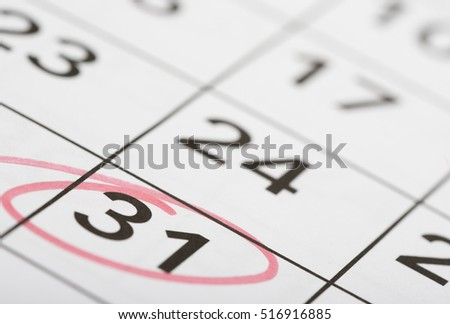 Mark the date number 31. The last day of the month is marked with a red circle. Focus point on the marked number.