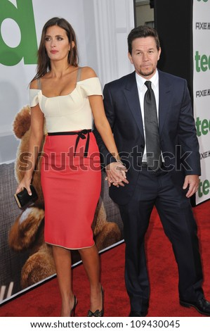 """Mark Wahlberg & wife Rhea Durham at the world premiere of his movie """"Ted"""" at Grauman's Chinese Theatre, Hollywood. June 22, 2012  Los Angeles, CA Picture: Paul Smith / Featureflash - stock photo"""