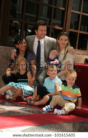 Mark Wahlberg, wife Rhea Durham, kids Ella, Michael, Brendan, Grace Margaret at Mark Wahlberg's Star Ceremony on the Hollywood Walk Of Fame, Hollywood, CA. 07-29-10 - stock photo