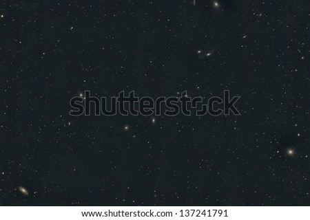 Markarian's Chain of Galaxies in the Constellation Virgo - stock photo
