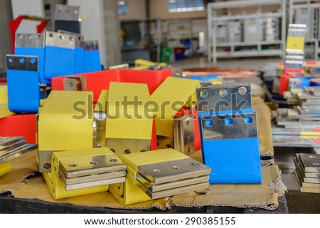 Marked copper busbar plated tin in factory of Electrical switchboard manufacture - stock photo