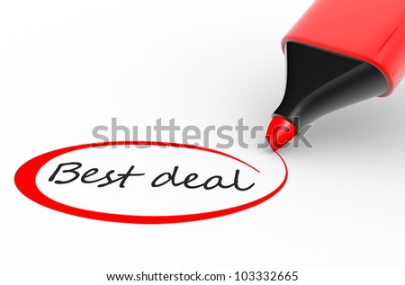 "Marker and "" best deal"". 3d render - stock photo"