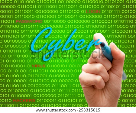 Marker hand writing protect password cyber crime caution binary text - stock photo