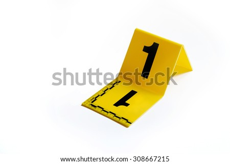 Marker of Crime Scene, Number 1 - stock photo
