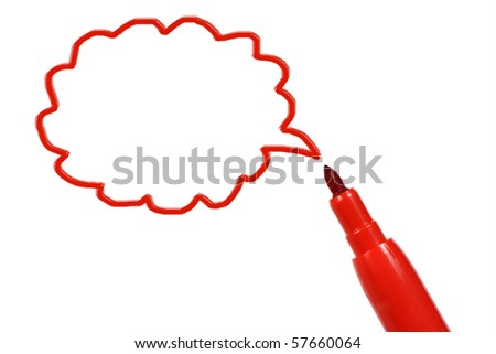 marker pen with a selected area - stock photo