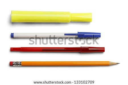 Marker pens and pencil isolated on white background. - stock photo