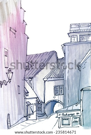 Marker street sketch. Contrast bright marker sketch of a street in european urban city with old street - stock photo