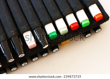 markers in holder - stock photo