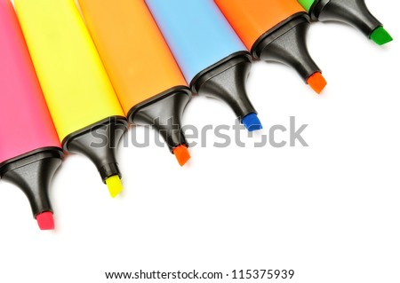 markers isolated on a white background - stock photo