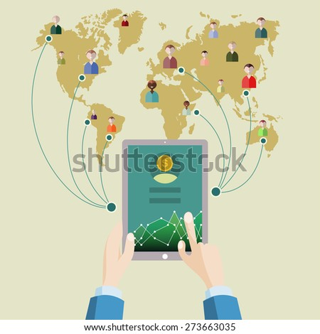 Market analysis. Flat design. With earth background. - stock photo
