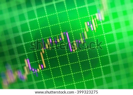 Market analysis for variation report of share price. Professional market analysis. Shallow DOF. World economics graph. Analysing stock market data on a monitor. Finance concept. Price chart bars.   - stock photo