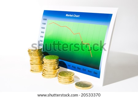 Market chart with declining graph and a stack of money - stock photo