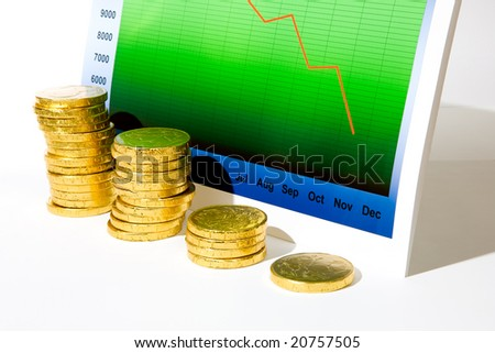 Market chart with declining graph and diminishing stack of money - stock photo