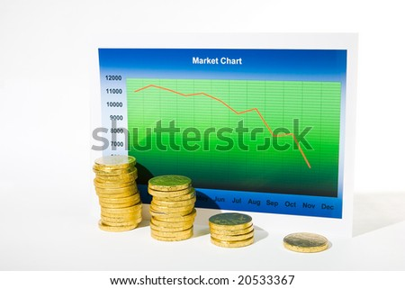 Market chart with declining graph and pile of money - stock photo