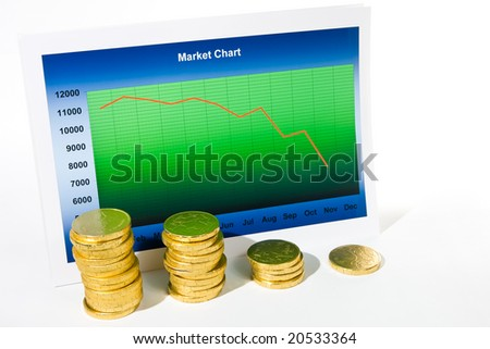 Market chart with graph and stack of money - stock photo