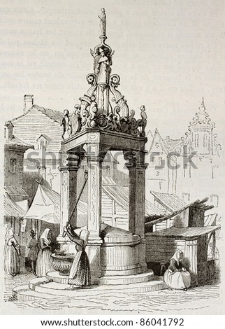 Market fountain old illustration, Mainz, Germany. Created by Girardet, published on Magasin Pittoresque, Paris, 1842 - stock photo
