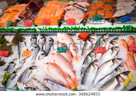Market fresh fish on the streets of Amsterdam Texture Background - stock photo