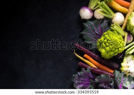 market fresh vegetables border background, overhead - stock photo