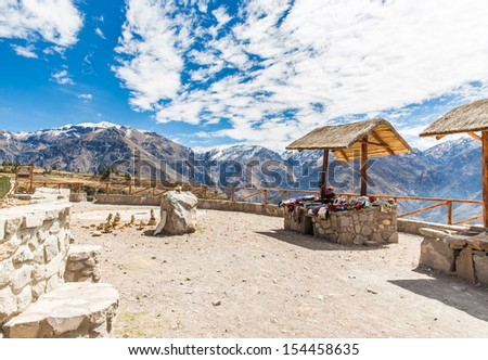 Market, Hawkers in Colca Canyon, Peru, South America. Colorful blanket,  scarf, cloth, ponchos from   wool of alpaca, llama - stock photo
