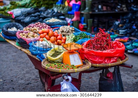 market impressions in sumatra - stock photo