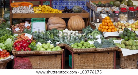 Market in Funchal, Madeira, Portugal - stock photo