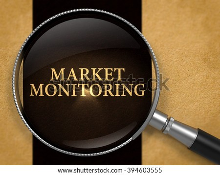Market Monitoring through Lens on Old Paper with Black Vertical Line Background. 3D Render.