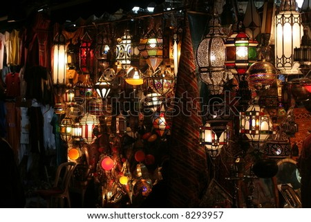Market of lamps in medina of Marrakech, Morocco, Northern Africa - stock photo