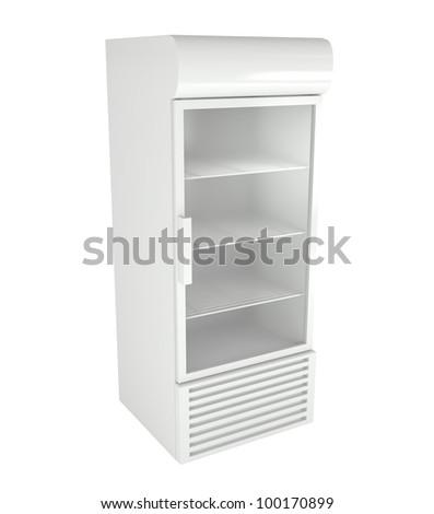 Market Refrigerator Isolated on White - 3d illustration - stock photo