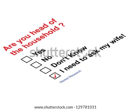 Market research questionnaire asking head of household