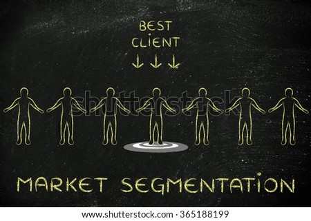 market segmentation: person in a crowd with sign Best Client and standing on target