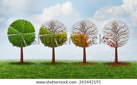 Market share decline concept as a group of trees shaped as a pie chart gradually losing leaves as a financial crisis symbol and investment loss icon. - stock photo
