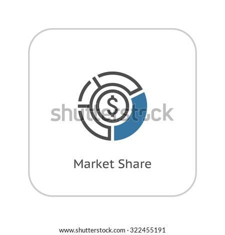 Market Share Icon. Business Concept. Flat Design. Isolated Illustration. - stock photo