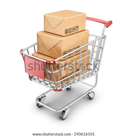 Market shopping cart with cardboard box. 3D Icon isolated  - stock photo