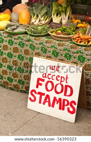 Market Sign for Food Stamps - stock photo