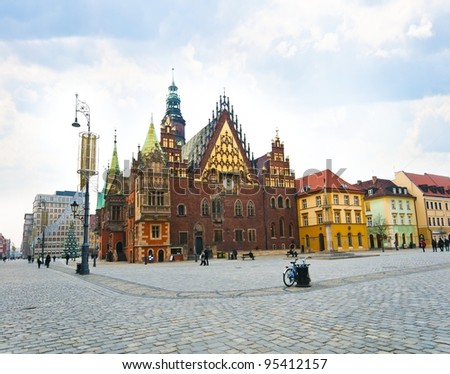 Market square and Town Hall in Wroclaw city, Poland - stock photo