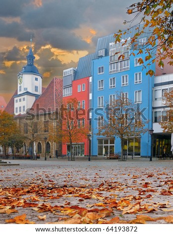 Market square in Jena, ancient German city. Building on the left is the Old City Hall - stock photo