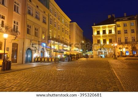 Market Square in Lviv at night. Ukraine, Lvov - stock photo