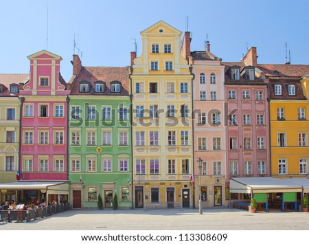 market square in old town of Wroclaw, Poland - stock photo