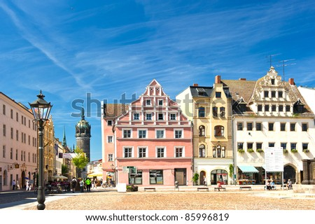 Market square in Wittenberg, main square. Wittenberg is Luther City in Germany, UNESCO World Heritage Site. Wittenberg is very old german City, famous object of interest in Germany - stock photo