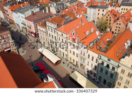 market square (rynek) in old town in Torun, Poland - stock photo