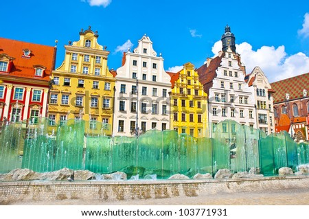 Market Square tenements and The fountain in Wroclaw, Poland - stock photo