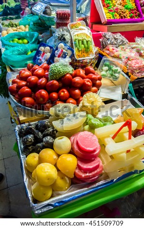 Market stall full of candys in Coyoacan, Mexico City - stock photo