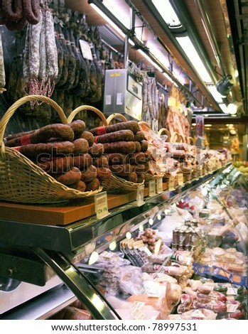 Market stall in Barcelona, Spain - stock photo