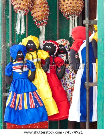 Market stall in Havana selling traditional cuban rag dolls and musical instruments - stock photo