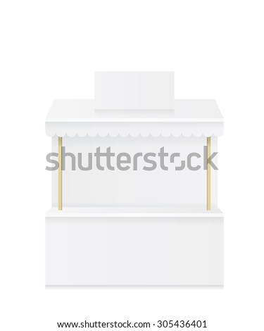 Market stall shop white illustration - stock photo