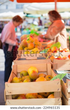 Market stall with organic apples. - stock photo