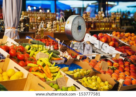 market stall with southern fruits in Croatia - stock photo